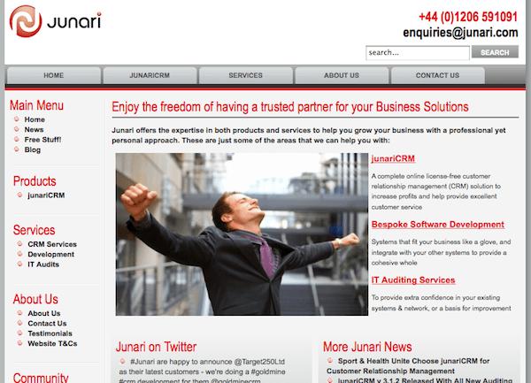 Junari Homepage Screenshot
