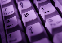 Picture of a purple-hued keyboard