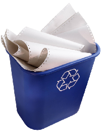 Picture of a recycling bin containing paperwork
