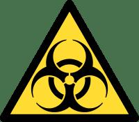 Copywritten content contamination biohazard logo