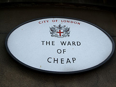 Picture of the &quot;Ward of Cheap&quot; sign in London - not indicative of copywriting rates.  Ewan-M