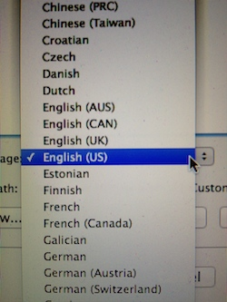 Picture of American English being selected from the language settings for a copywriting project