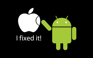 Picture of the Android logo 'fixing' the Apple logo