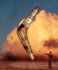 Picture of a boomerang made of money, a metaphor for a return on investment