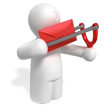 Picture of a man trying to slingshot an envelope