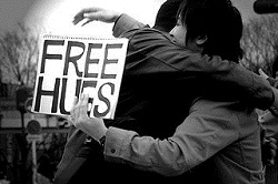 Picture of a man receiving a free hug - example of over familiar copywriting
