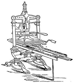 Picture of a printing press, used to print stories garnered from press releases
