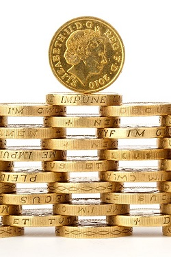 Stack of pound coins created through copywriting and content marketing
