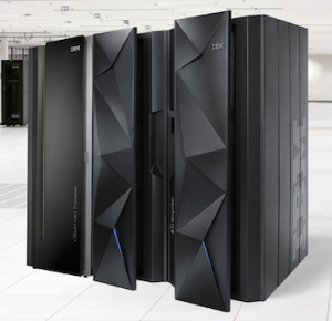 a picture of an IBM z-10 mainframe with associated Innocent-style technical copy