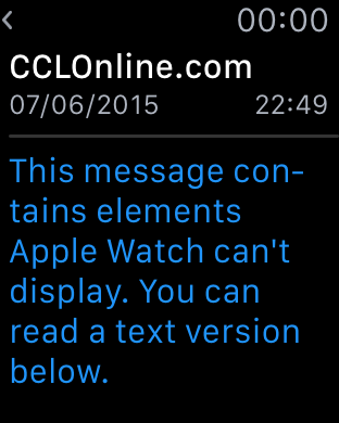 A picture of what a marketing email looks like on an Apple Watch