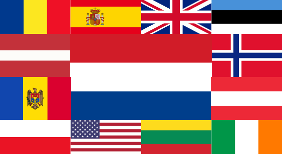 Flags of the 13 countries Tech Write wrote for in 2019